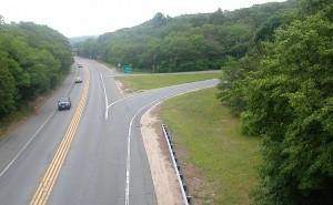 single lane divided highway