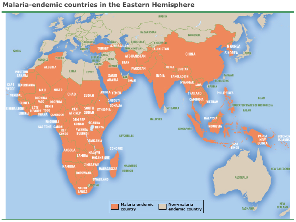 World Map Hemispheres Countries. Map displaying current Malaria endemic countries in the Eastern Hemisphere  Medical Student Clinical Pearl A Case of Department