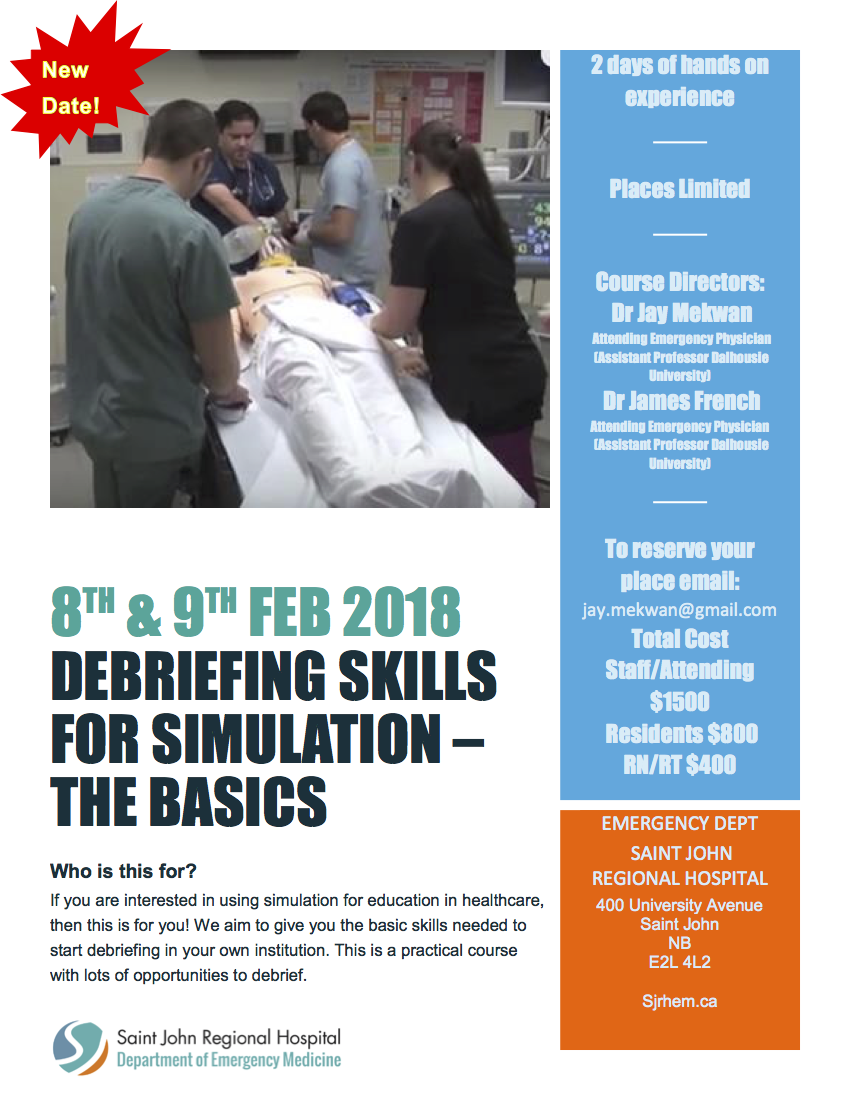 dec7972072 New SJRHEM Dalhousie Course – Debriefing Skills for Simulation – The Basics